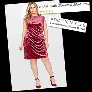 c8780beac67ed Michel Studio Red Sleeveless Velvet Dress 24 NWT